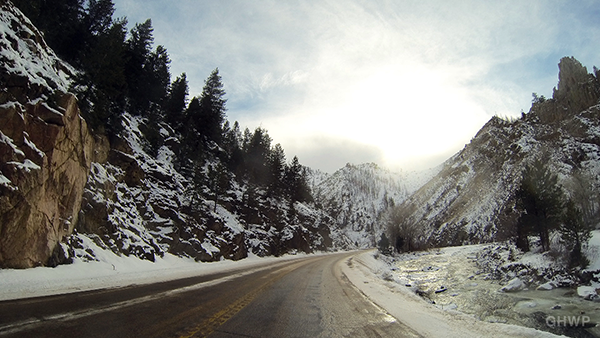 Drive through Poudre Canyon, Colorado, in the winter – Time Lapse (extended version)